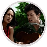 Joan Baez With Bob Dylan Round Beach Towel