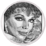 Joan Collins In 1985 Round Beach Towel