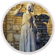 Joan Of Arc Hearing Voices By Francois Rude Round Beach Towel