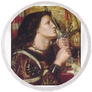 Joan Of Arc Kisses The Sword Of Liberation Round Beach Towel