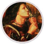 Joan Of Arc Kissing The Sword Round Beach Towel