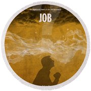 Job Books Of The Bible Series Old Testament Minimal Poster Art Number 18 Round Beach Towel