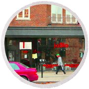Joblo Restaurant Steakhouse Rue Wellington Verdun Montreal Cafe City Scenes Carole Spandau Round Beach Towel