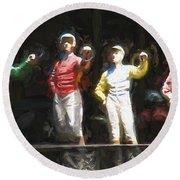 Jockeys In A Row Round Beach Towel