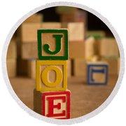 Joe - Alphabet Blocks Round Beach Towel