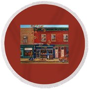 Joe Beef Restaurant Montreal Round Beach Towel
