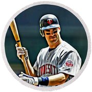 Joe Mauer Painting Round Beach Towel