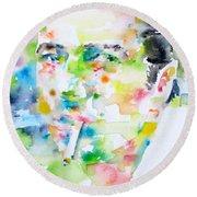 Joe Strummer - Watercolor Portrait Round Beach Towel