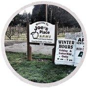 Joe's Place Farms Round Beach Towel