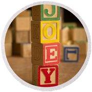 Joey - Alphabet Blocks Round Beach Towel