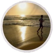 Jogging At Sunrise By Kaye Menner Round Beach Towel