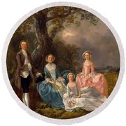 John And Ann Gravenor With Their Daughters Round Beach Towel