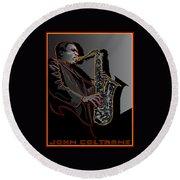 John Coltrane Jazz Saxophone Legend Round Beach Towel
