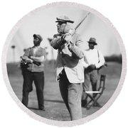 John D. Rockefeller Golfing Round Beach Towel