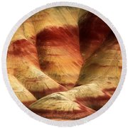 John Day Martian Landscape Round Beach Towel by Inge Johnsson