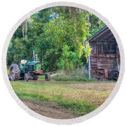 John Deere - Old Tractor Shed Round Beach Towel