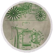 John Deere Patent Round Beach Towel