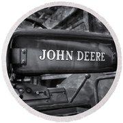John Deere Tractor Bw Round Beach Towel by Susan Candelario
