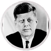 John F. Kennedy Round Beach Towel by Benjamin Yeager