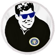 John F Kennedy Signature Wayfarer Round Beach Towel by Jost Houk