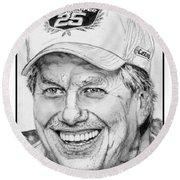 John Force In 2010 Round Beach Towel by J McCombie