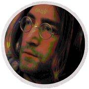 John Lennon 2 Round Beach Towel