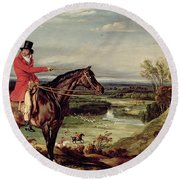 John Levett Hunting In The Park At Wychnor Round Beach Towel