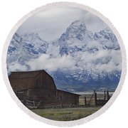 John Moulton Barn Grand Teton National Park Wyoming Round Beach Towel