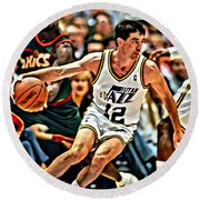 John Stockton Round Beach Towel by Florian Rodarte