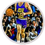 John Stockton Portrait Round Beach Towel