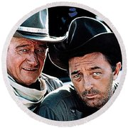 John Wayne And Robert Mitchum El Dorado 1967 Publicity Photo Old Tucson Arizona 1967-2012 Round Beach Towel