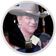 John Wayne Cardboard Cut-out In Store Window Tombstone  Arizona 2004 Round Beach Towel