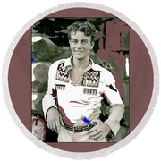 John Wayne In Buckskins The Big Trail 1930-2013 Round Beach Towel