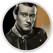 John Wayne Publicity Photo In Costume Stagecoach 1939-2013 Round Beach Towel