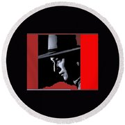 John Wayne Ringo Kid Portrait Stagecoach 1939-2013 Round Beach Towel