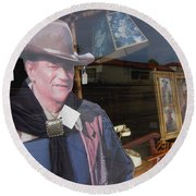 John Wayne Tall In The Saddle Homage 1944 Cardboard Cut-out  Tombstone Arizona 2004 Round Beach Towel