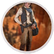 John Wayne The Cowboy Round Beach Towel