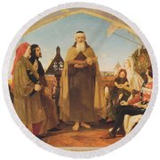 John Wycliffe Reading His Translation Of The Bible To John Of Gaunt Round Beach Towel