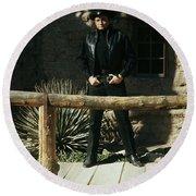 Johnny Cash Gunfighter Hitching Post Old Tucson Arizona 1971 Round Beach Towel