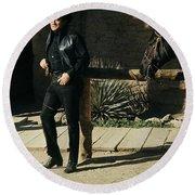 Johnny Cash Horse Old Tucson Arizona 1971 Round Beach Towel