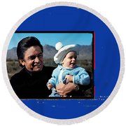 Johnny Cash John Carter Cash Old Tucson Arizona 1971 Round Beach Towel