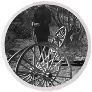 Johnny Cash  Meditating Wagon Wheel Graveyard Old Tucson Arizona 1971 Round Beach Towel