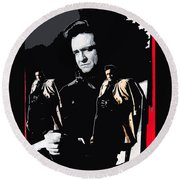 Johnny Cash Multiples  Trench Coat Sitting Collage 1971-2008 Round Beach Towel
