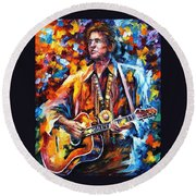 Johnny Cash - Palette Knife Oil Painting On Canvas By Leonid Afremov Round Beach Towel