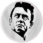 Johnny Cash Poster Art Portrait Round Beach Towel