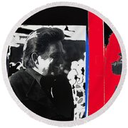 Johnny Cash  Smiling Collage 1971-2008 Round Beach Towel