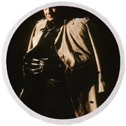 Johnny Cash Trench Coat  Sepia Variation Old Tucson Arizona 1971 Round Beach Towel