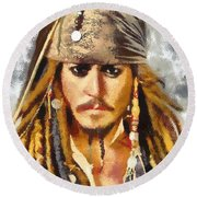 Johnny Depp Jack Sparrow Actor Round Beach Towel