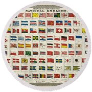 Johnsons New Chart Of National Emblems Round Beach Towel by Georgia Fowler