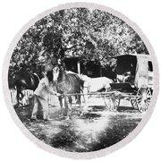 Johnston Horse Wagon Round Beach Towel
